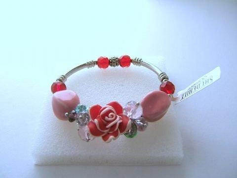Ladies Trevi Bracelet Roses and Beads Red