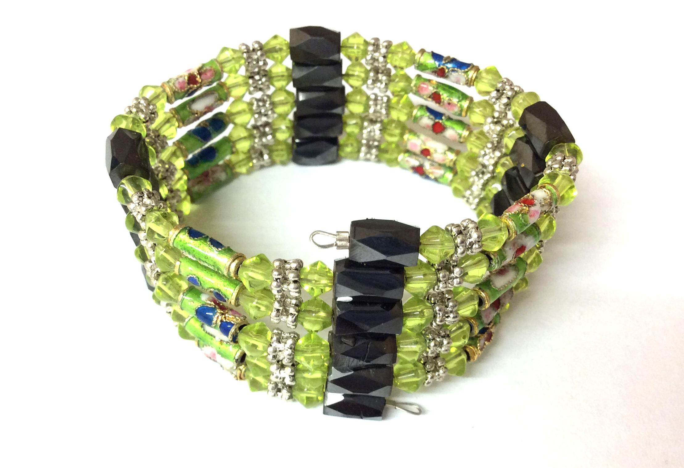 Magnetic Hematite Wrap Around Bracelet Light Green