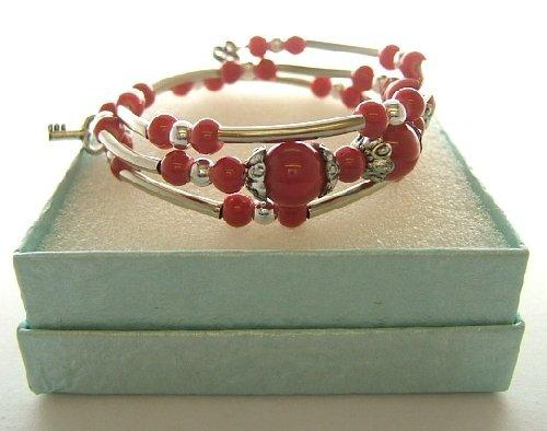 Ladies Tibetan Silver Bracelet Red Spiral