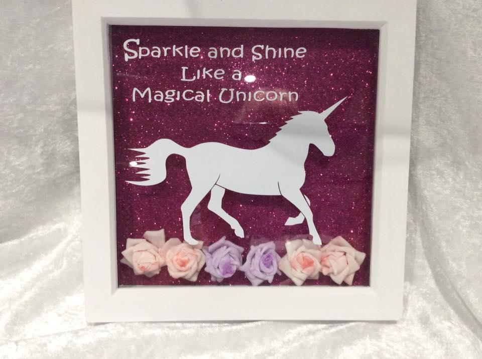 Unicorn Decorative Frame in Purple with Verse