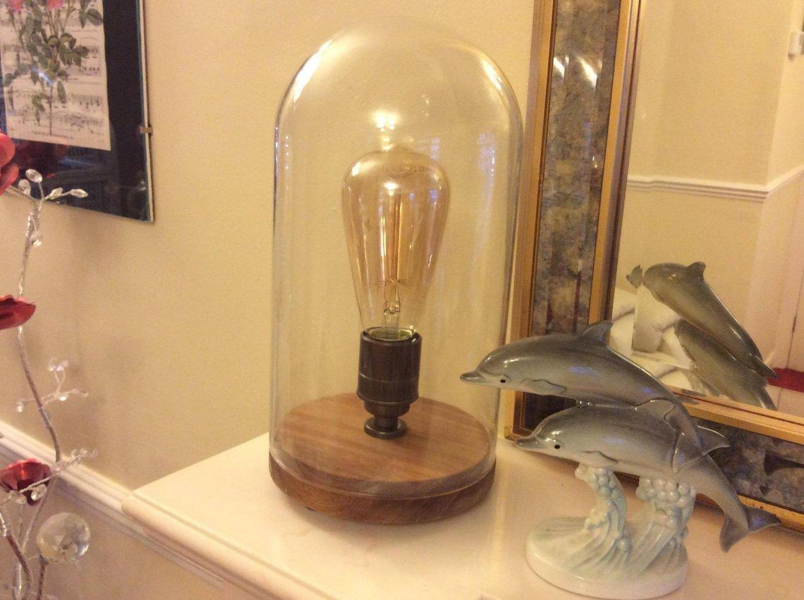 Retro Antique Wooden Base Glass Bell Jar Table Lamp