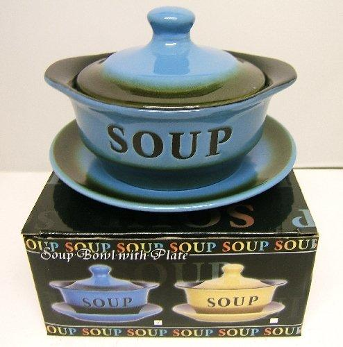 Stoneware Blue Soup Tureen with Saucer and Lid - LP17891A