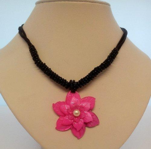 Ladies Coral Necklace Floral Pearl