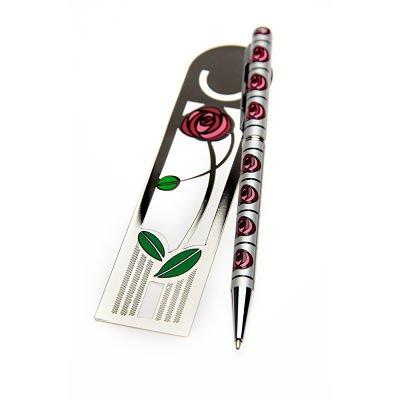 Pen and Bookmark Gift Set Mackintosh Rose Lines Design