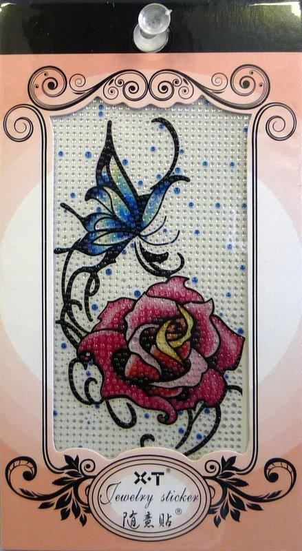 Jewellery Sticker Butterfly and Red Rose