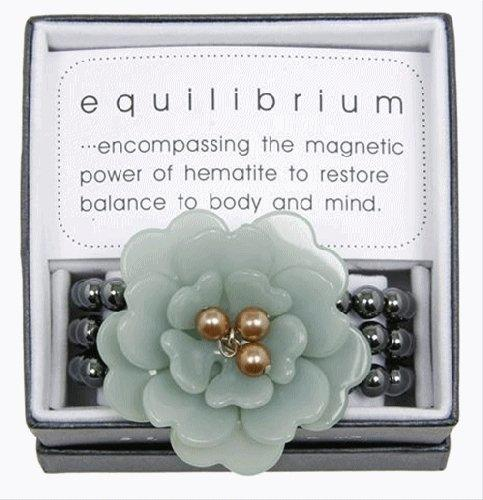 Equilibrium Bracelet Acrylic Jade Flower with Beads