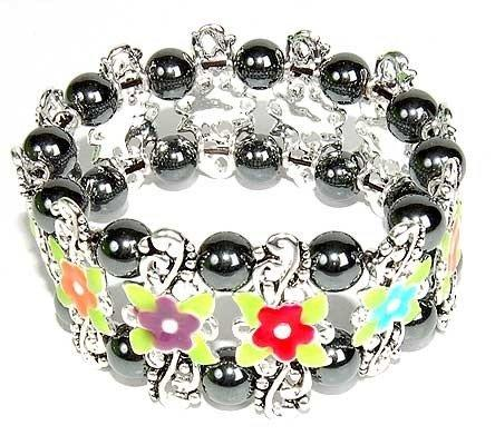 Hematite Bracelet Flower Multi Colour