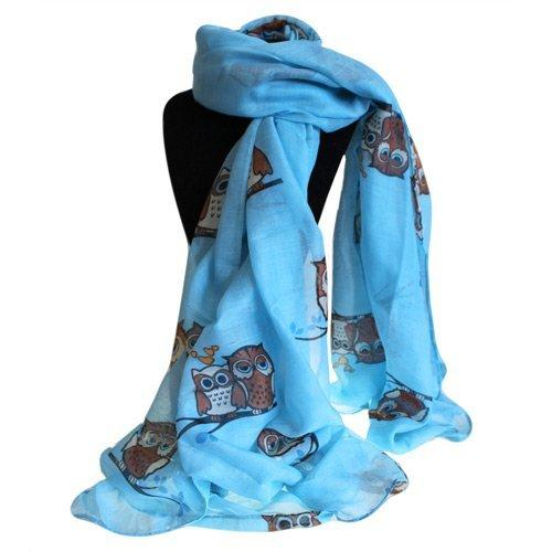 Scarves Sleepy Owls Design Blue