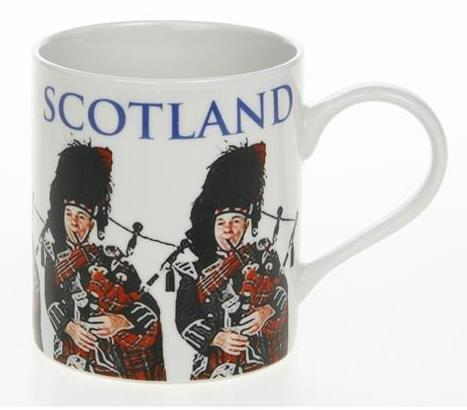 Big Letter Scotland Piper Fine China Mug