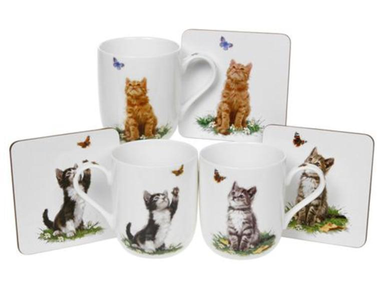 Playful Cats Mug and Coaster