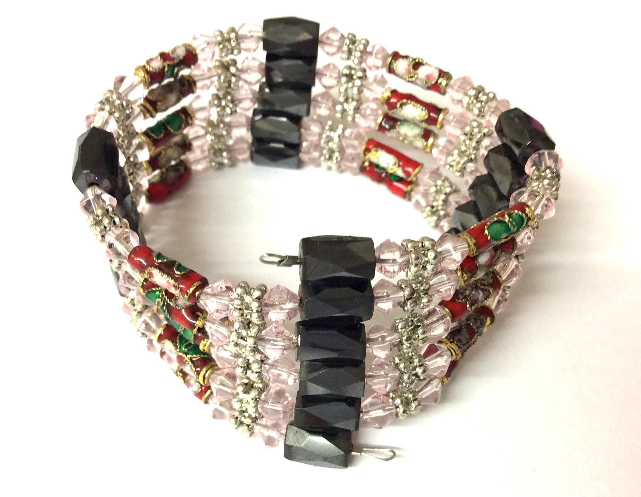 Magnetic Hematite Wrap Around Bracelet Light Pink