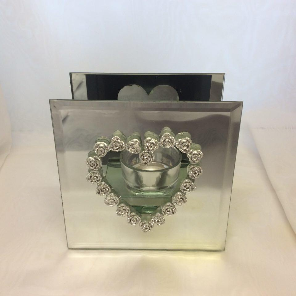 Tealight Candle Holder Hearts and Roses Mirror Shape