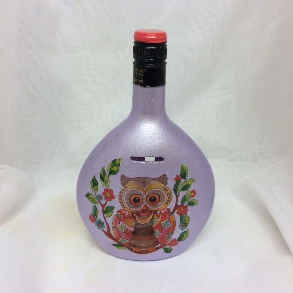 Owl Money Bottle - Recycled Wine Bottle