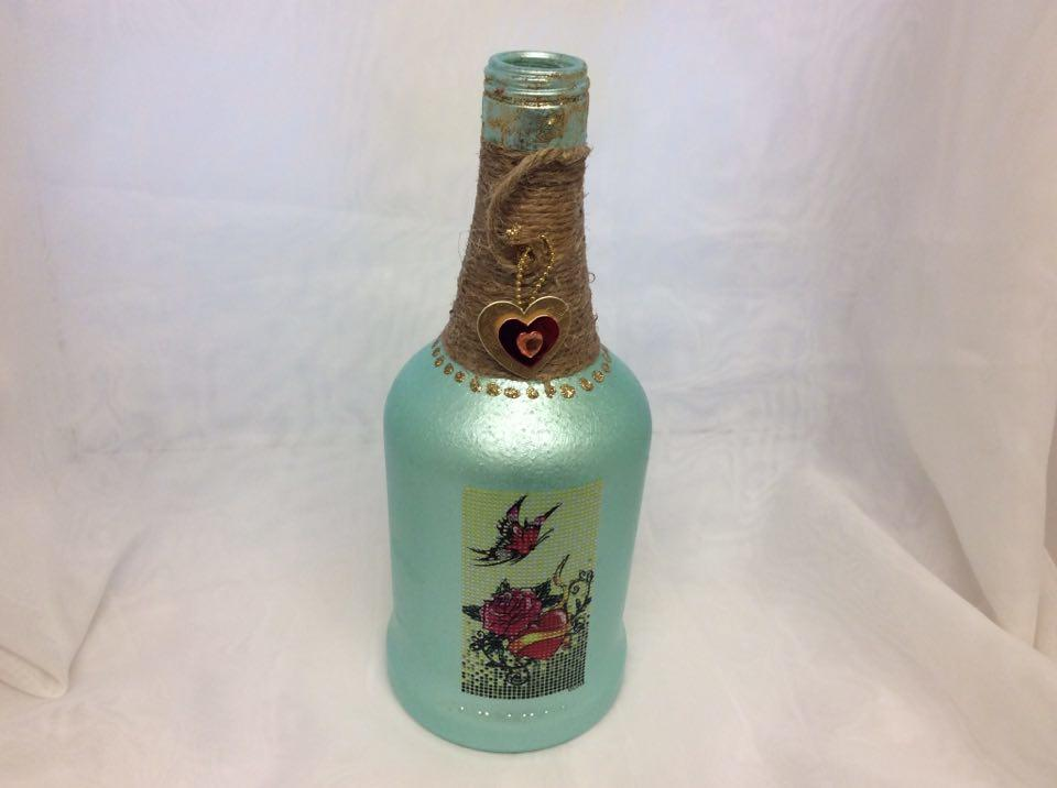 Decorated Wine Bottle Flowers and Heart