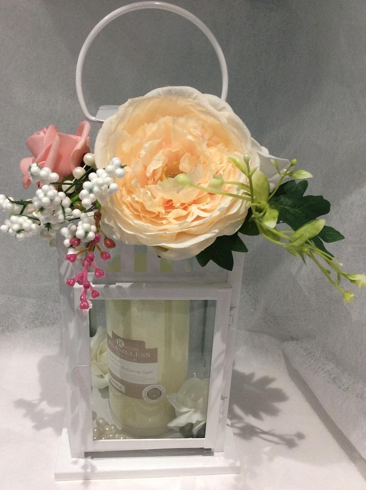 Floral Lantern with Scented Flameless Candle