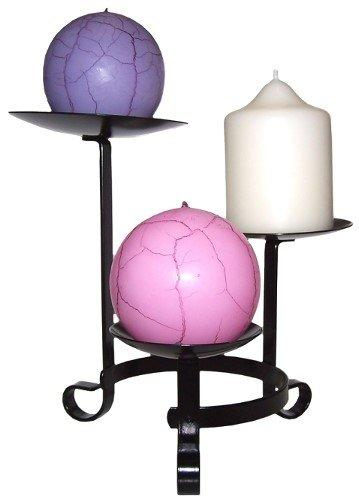 Candle Holder Black Metal 3 Tier for Ball or Pillar Candles