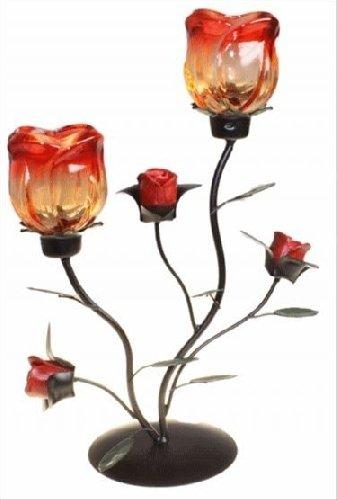 Romantic Metal Candle Holder Twin Rose Standing