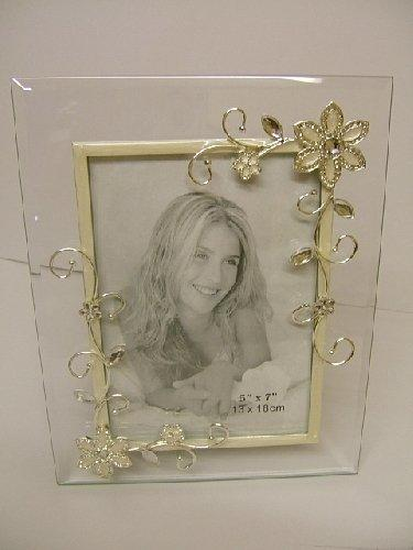 Floral Design White Glass Photo Frame