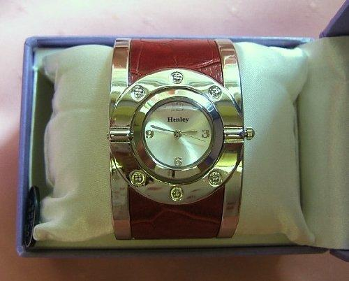 Ladies Red and Silver Henley Glamour Fashion Watch