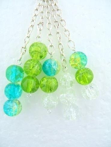 Handbag Charm Crackle Glaze Beads Green Turquoise & Chains -