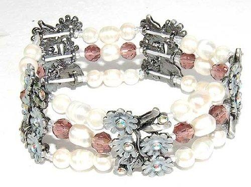 Hematite Bracelet Petite Flower and Pearl