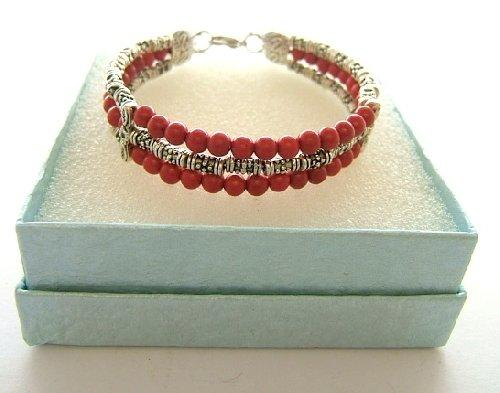 Ladies Tibetan Silver Bracelet Red and Silver Coral