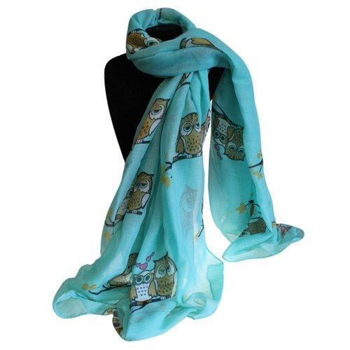 Scarves Sleepy Owls Design Green