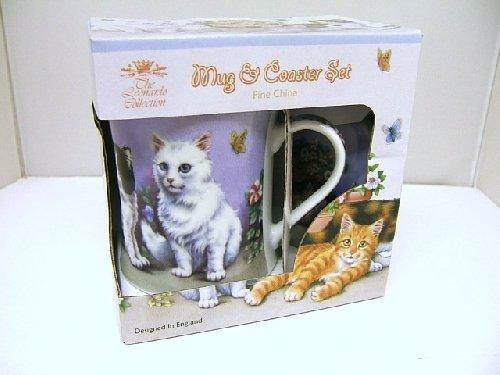 Cats and  Butterflies Lilac Design Mug and Coaster Set