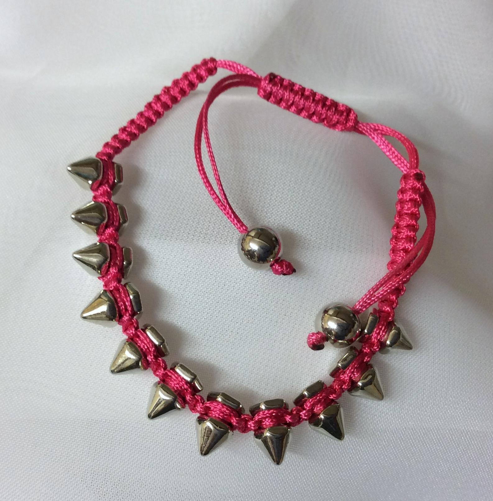 Bracelet Metal Spike Macrame Adjustable Pink