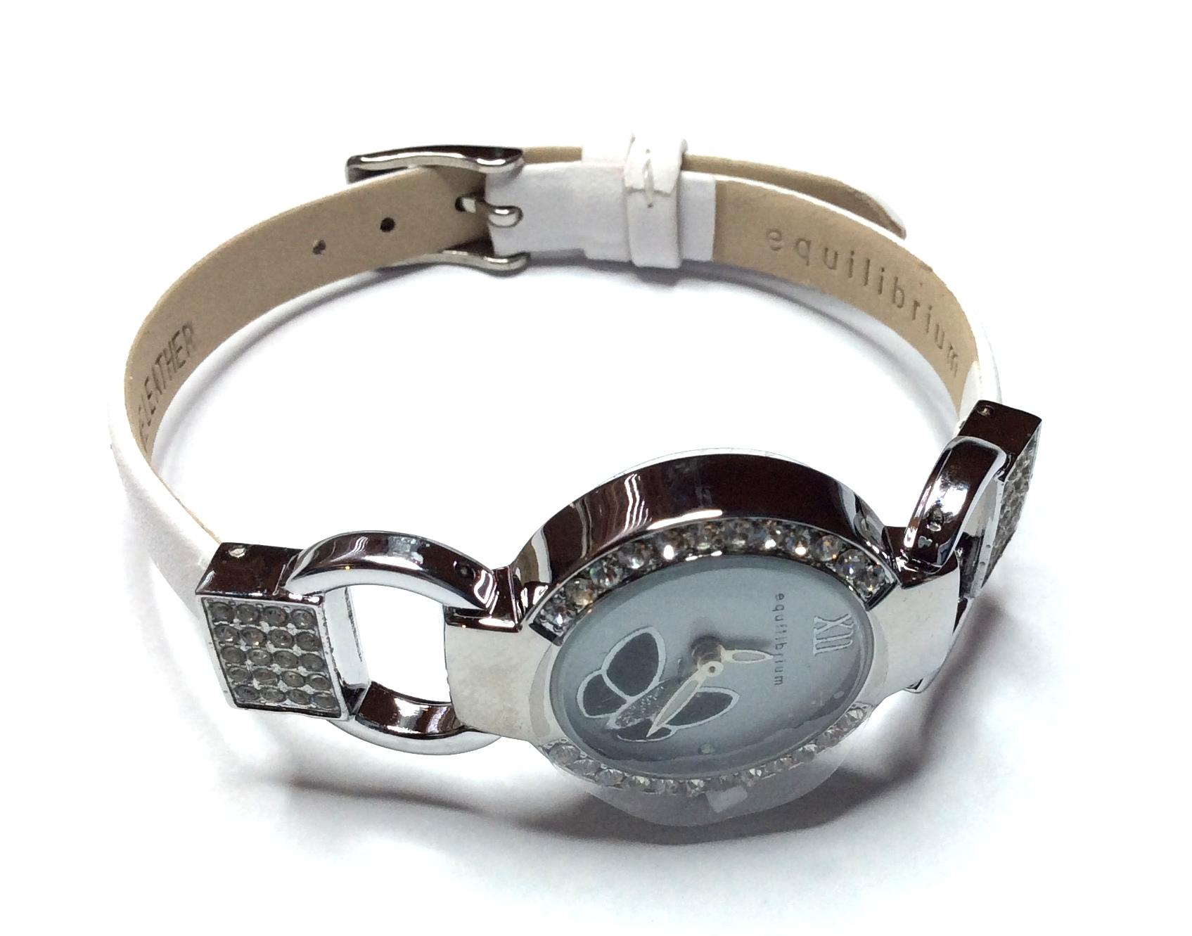 Equilibrium Watch Silver and White with Butterfly Face Design