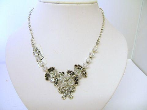 Ladies Trevi Butterfly Cluster Bead Necklace Clear