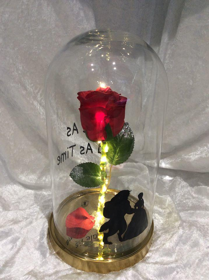 Beauty and The Beast Enchanted Rose in Glass Dome with Lights and Golden Base