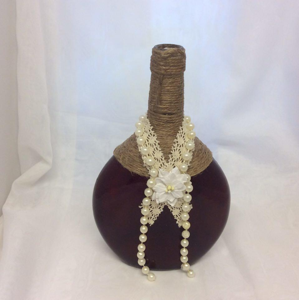 Decorated Wine Bottle Pearls and Chic
