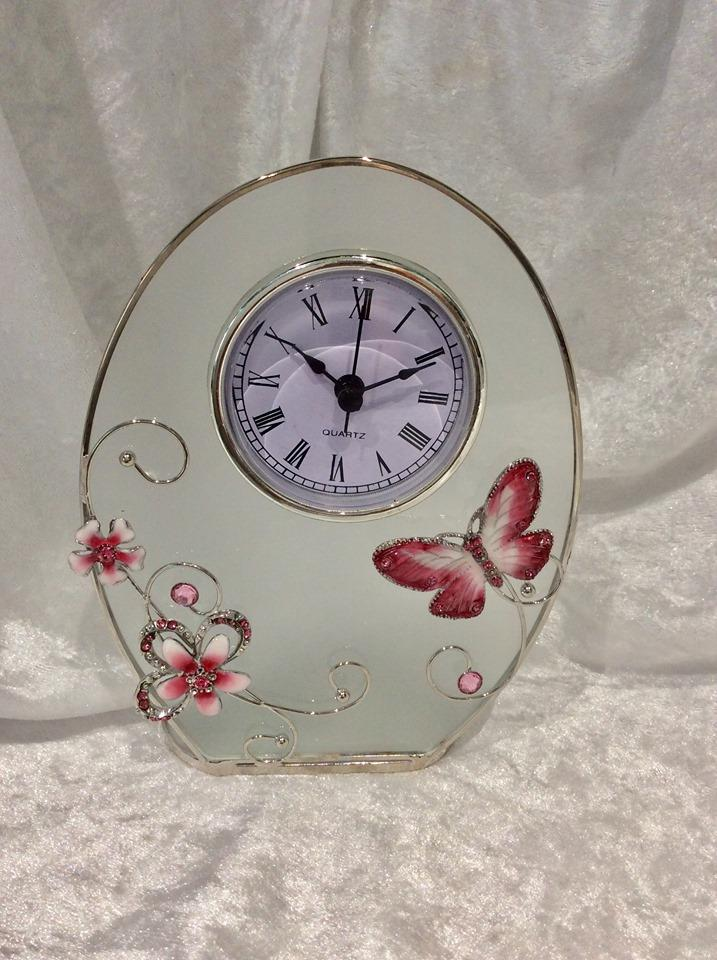 Butterfly and Crystal Flowers Pink Glass Oval Clock