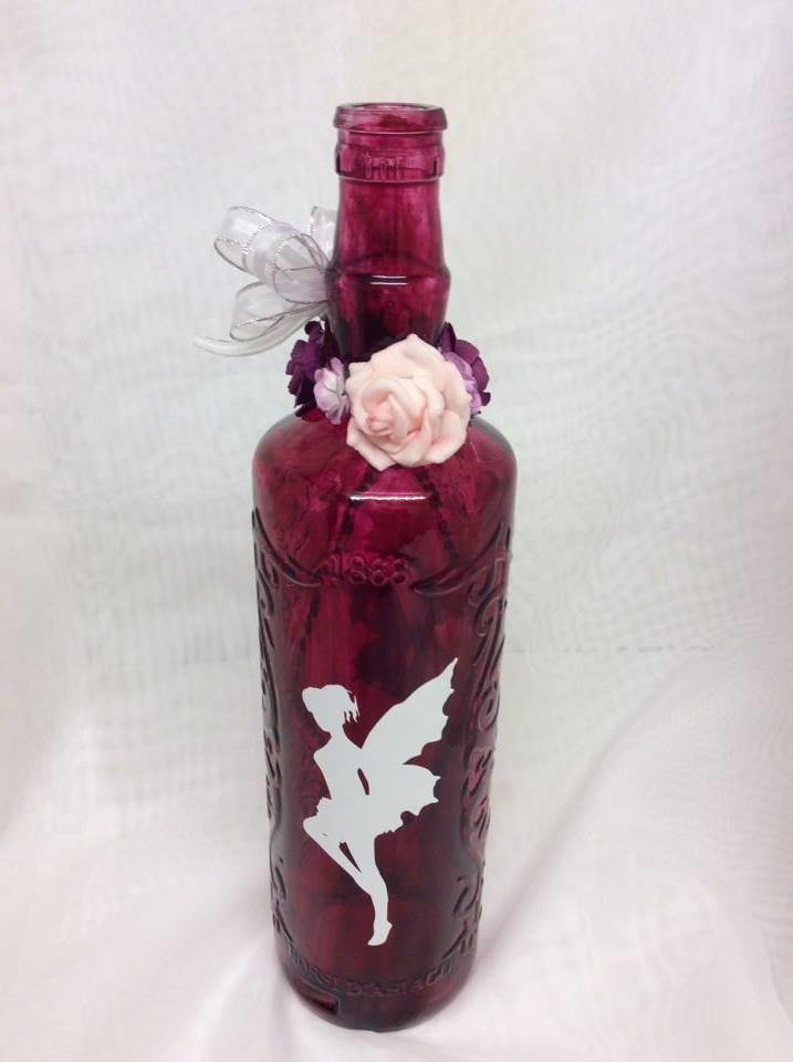 Decorated Wine Bottle Fairy and Roses