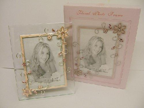 Floral Design Glass Photo Frame