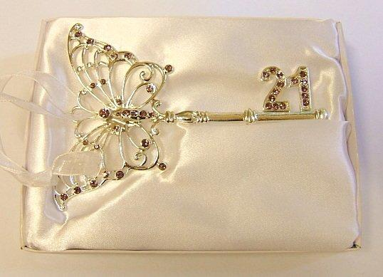 21st Birthday Celebration Purple Butterfly Key