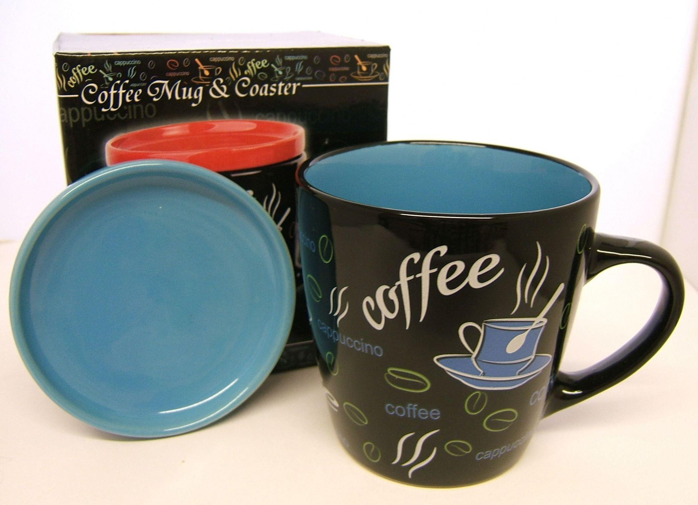 Stoneware Coffee Mug and Coaster Lid Set