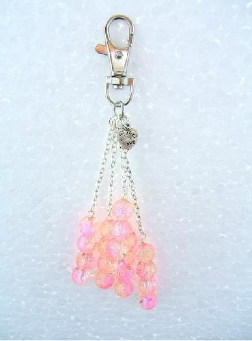 Handbag Charm Crackle Glazed Beads in Pink and Lemon Glaze