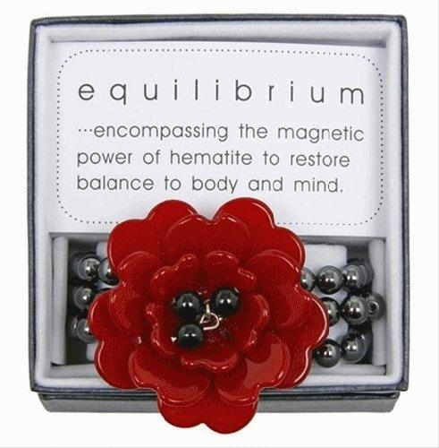 Equilibrium Bracelet Acrylic Red Flower with Beads
