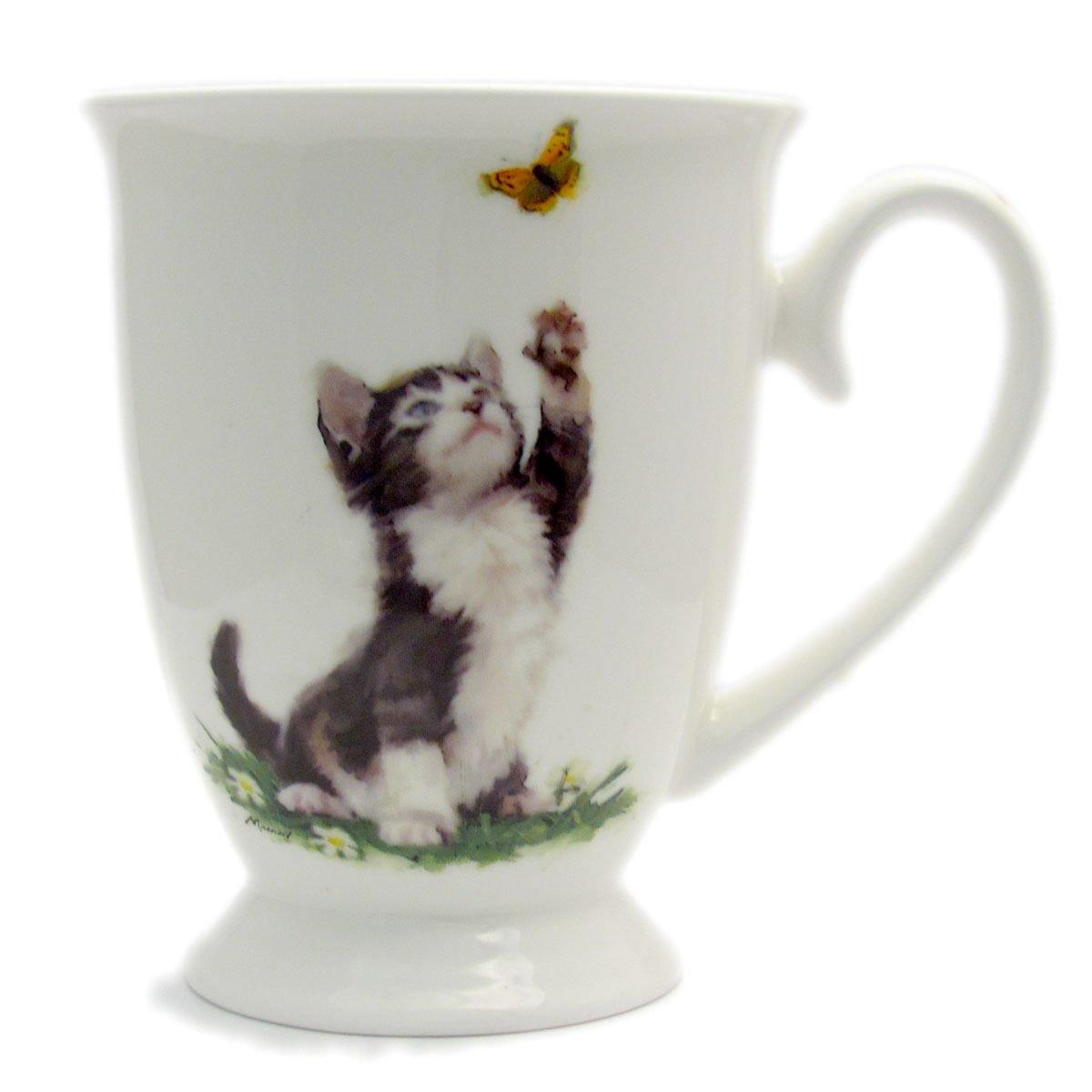 Playful Back and White Cat Coffee and Tea Cups