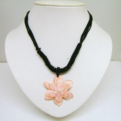 Ladies Coral Necklace Floral Pearl Light Pink