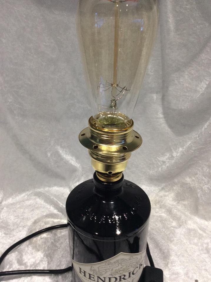 Upcycled Glass Bottle Table Lamp Hendrick's Gin