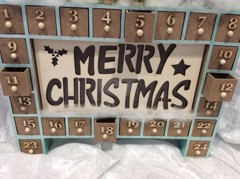 Christmas Advent Wooden Calendar with 24 boxes for treats