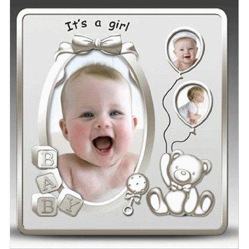 It's a Girl Satin Silver Baby Photo Frame