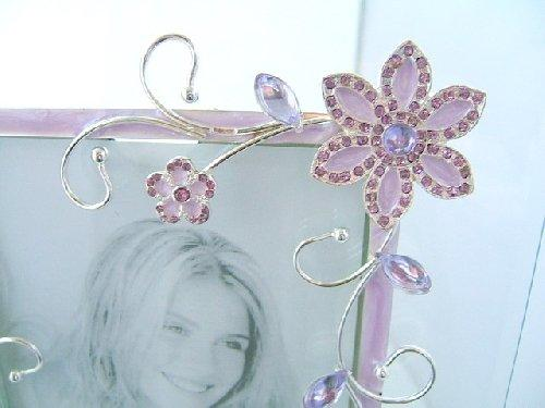 Purple Floral Design Glass Photo Frame