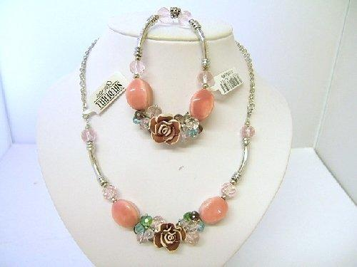 Trevi Necklace & Bracelet Set Rose Brown Bead