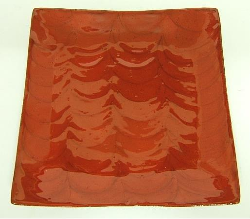 Candle Display Plate Large Square Red