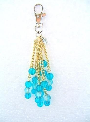 Handbag Charm Crackle Glazed Beads Turquoise Blue & Clear