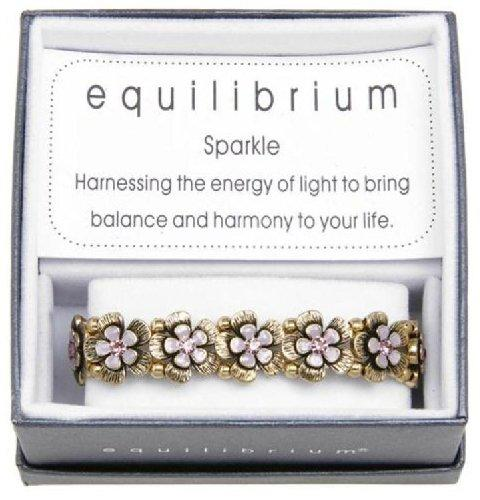 Equilibrium Bracelet Antique Gold and Lilac Flowers